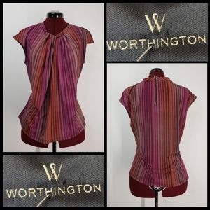 worthington woman pleats blouse size large stretch